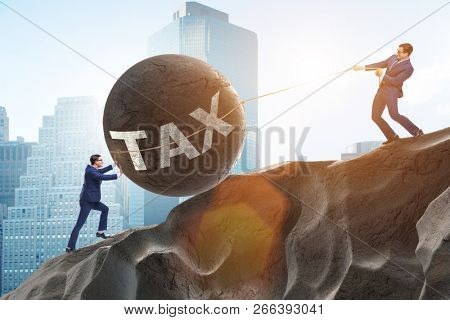 Business concept of tax payments burden