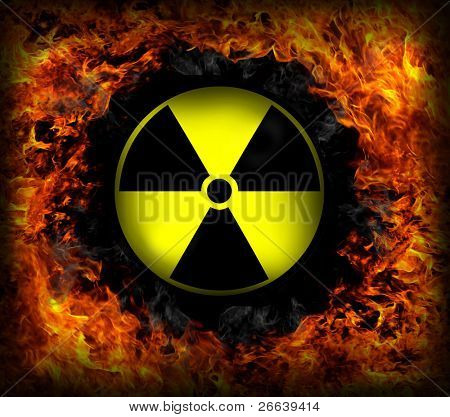 SIgn of radiation inside fire circle