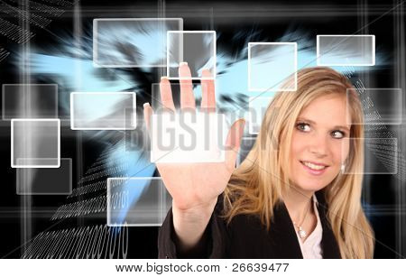 VIrtual reality scheme with beautiful woman touching the buttons.Focused on hand.