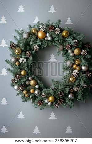 Beautiful Festive Christmas Wreath With Pine Cones And Colored Balls