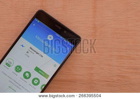Bekasi, West Java, Indonesia. November 6, 2018 : Facebook Lite Dev App On Smartphone Screen. Lite Is