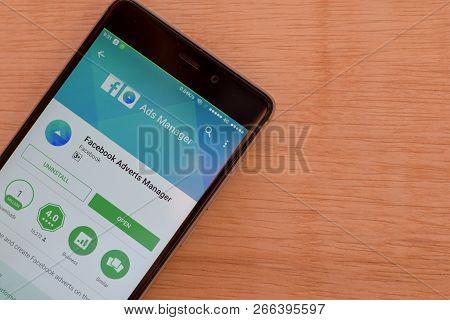 Bekasi, West Java, Indonesia. November 6, 2018 : Facebook Adverts Manager Dev App On Smartphone Scre
