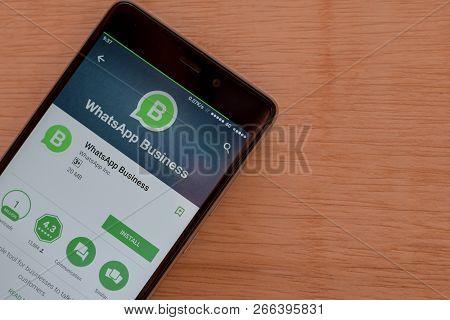 Bekasi, West Java, Indonesia. November 2, 2018 : Whatsapp Business Dev App On Smartphone Screen. Wha