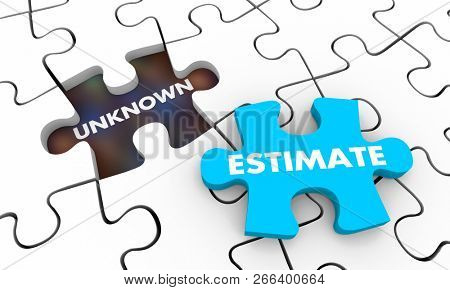 Estimate Vs Unknown Amount Puzzle 3d Illustration