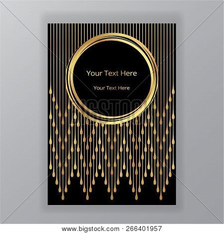 Abstract Golden Black Circle Luxury Elegant Background , Modern Design Fashion Style , Page Template