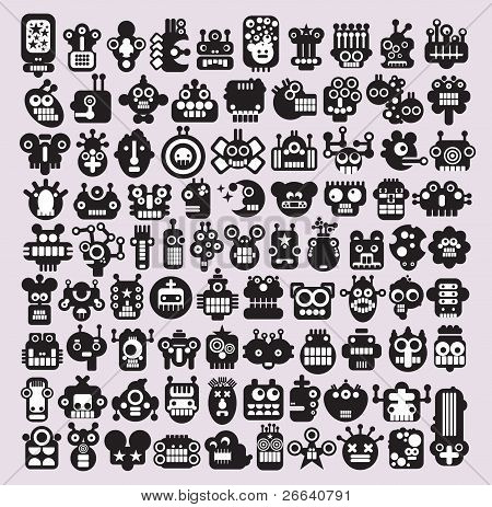 Big set of icons with monsters and robots faces #3.
