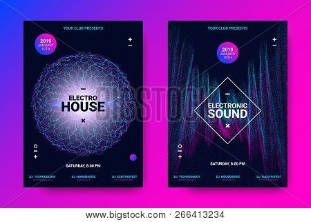 Electronic Sound Flyer. Music Equalizer Vector Design. Amplitude Of Distorted Wave Lines. Abstract P