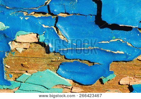 A Blue Peeling Paint Texture As Background