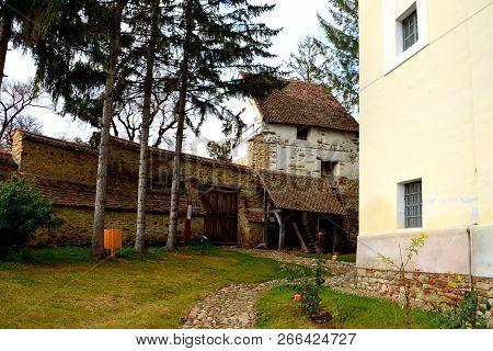 Medieval Fortified Saxon Church In The Village Crit-kreutz, Transylvania, Romania
