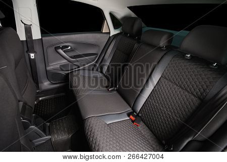 Car Back Seats. Clean Modern Car Interior. Black Automobile Seats. Car Cabin After Cleaning.
