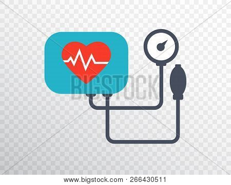 Heart Pressure Icon In Flat Style. Arterial Blood Pressure Checking Concept. Blood Pressure Meter Is