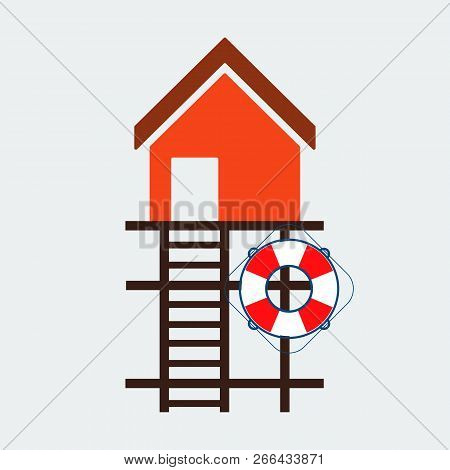 Lifeguard Stations Icon.flat Design.beach Lifeguard House Logo Or Label Template.vector Illustration