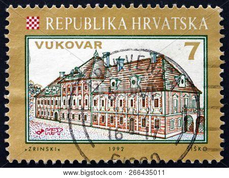 Zagreb, Croatia - November 1, 2018: A Stamp Printed In Croatia Shows View Of Eltz Castle, Vukovar, C