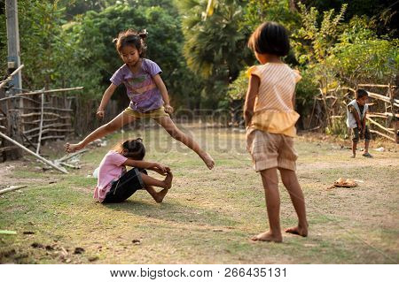 Champasak, Laos - February 26 : Unidentified Children Of Laos Play And Fun Of Kids In Countryside Vi