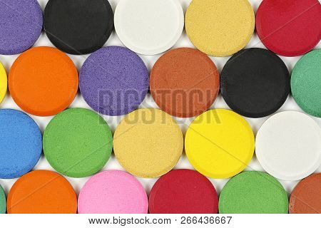 Watercolor Tablets On White Closeup For Backgrounds