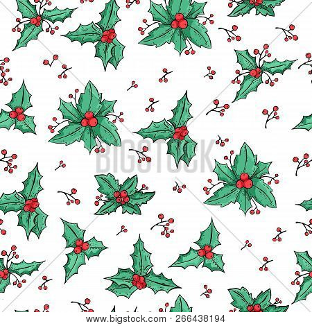Mistletoe Seamless Pattern. Holly Berry Natural Winter Seamless Pattern Christmas Background. Xmas H
