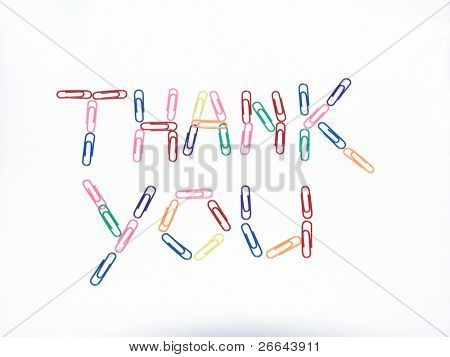 Thank you sign made from paper clips