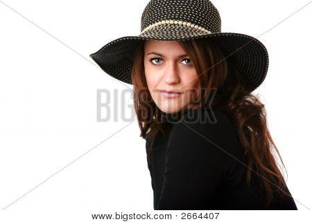 Beautiful Brunette Wearing Big Hat