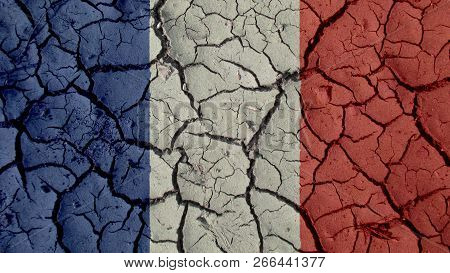 Political Crisis Or Environmental Concept: Mud Cracks With France Flag poster