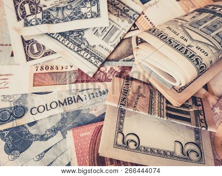 Cash Money Us Dollars And Colombian Pesos