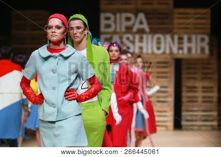 Zagreb, Croatia - October 25, 2018 : Fashion Models Wearing Clothes For Autumn-winter, Designed By T