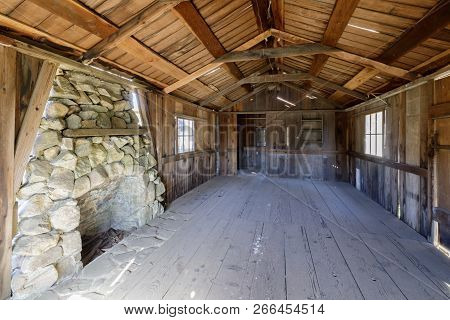 Inside An Old Abandoned Log Cabin In Wilder Ranch State Parks. Santa Cruz, California, Usa.