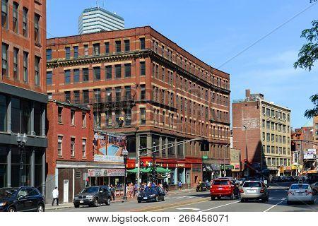 Boston - Jun. 13, 2015: Historic Buildings On Stuart Street At Tremont Street In Chinatown Boston, M