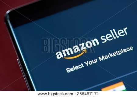 New York, Usa - November 1, 2018: Amazon Seller App Menu On Smartphone Screen Close Up View