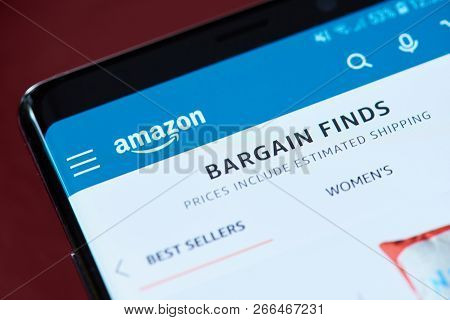 New York, Usa - November 1, 2018: Amazon Bargain App Menu On Smartphone Screen Close Up View