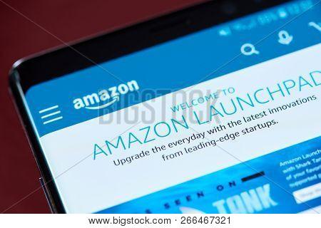 New York, Usa - November 1, 2018: Amazon Launchpad  App Menu On Smartphone Screen Close Up View