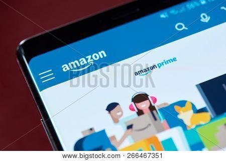 New York, Usa - November 1, 2018: Amazon Prime Service Menu On Smartphone Screen Close Up View