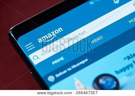 New York, Usa - November 1, 2018: Amazon Search Menu On Smartphone Screen Close Up View