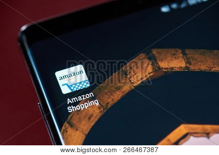 New York, Usa - November 1, 2018: Amazon Shopping App Icon On Smartphone Screen Close Up View