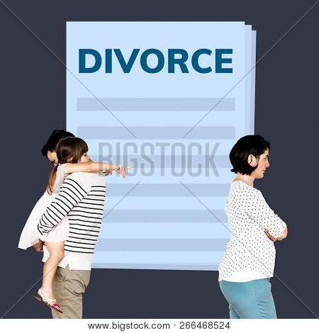 Married couple with a daughter getting a divorce poster