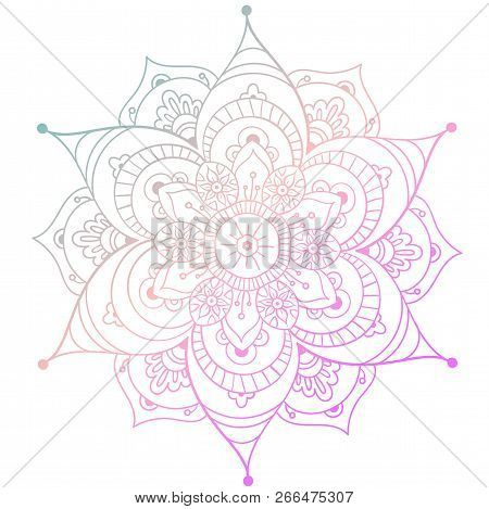 Round Mandala On White Isolated Background. Vector Boho Mandala In Green And Pink Colors. Mandala Wi