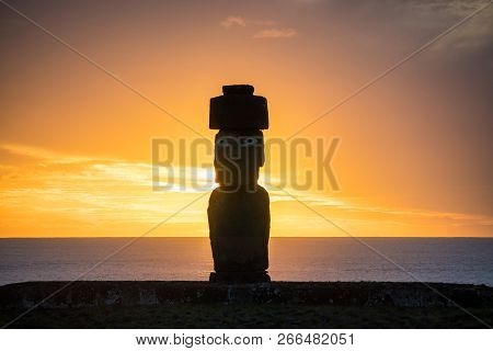 Silhouette Shot Of Moai Statues In Easter Island