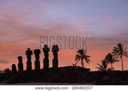 Moais At Anakena Beach In Easter Island