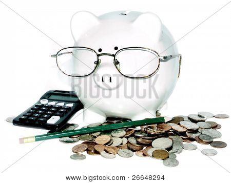 Serious piggy for retirement planning concept