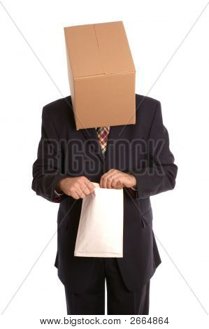 Box Man Opening Envelope