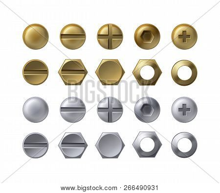 Vector Collection Of Steel And Brass Heads Of Screws, Bolts With Nuts And Washers Isolated On White.