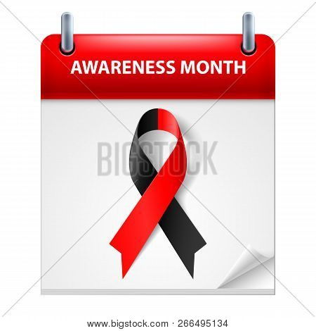 Banner With Atheist Solidarity Awareness Realistic Ribbon, Illustration On Calendar Page. Design Tem