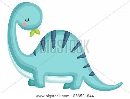 A Blue Brachiosaurus Looking Behind His Back
