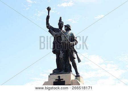 Drobeta Turnu Severin, Romania - 10.08.2018: Monument Of Heroes Landmark Detail
