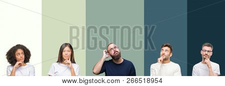 Collage of group of young people over colorful isolated background with hand on chin thinking about question, pensive expression. Smiling with thoughtful face. Doubt concept.