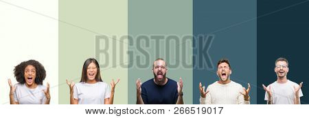 Collage of group of young people over colorful isolated background crazy and mad shouting and yelling with aggressive expression and arms raised. Frustration concept.