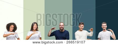 Collage of group of young people over colorful isolated background gesturing with hands showing big and large size sign, measure symbol. Smiling looking at the camera. Measuring concept.