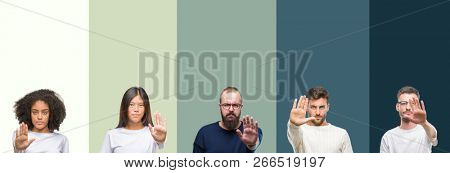 Collage of group of young people over colorful isolated background doing stop sing with palm of the hand. Warning expression with negative and serious gesture on the face.