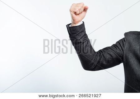 Business Man With Clenched Fist. Power Ambition Determination And Success.