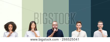 Collage of group of young people over colorful isolated background asking to be quiet with finger on lips. Silence and secret concept.