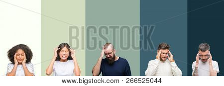 Collage of group of young people over colorful isolated background with hand on head for pain in head because stress. Suffering migraine.